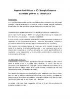 Rapport d'activités AG 2016